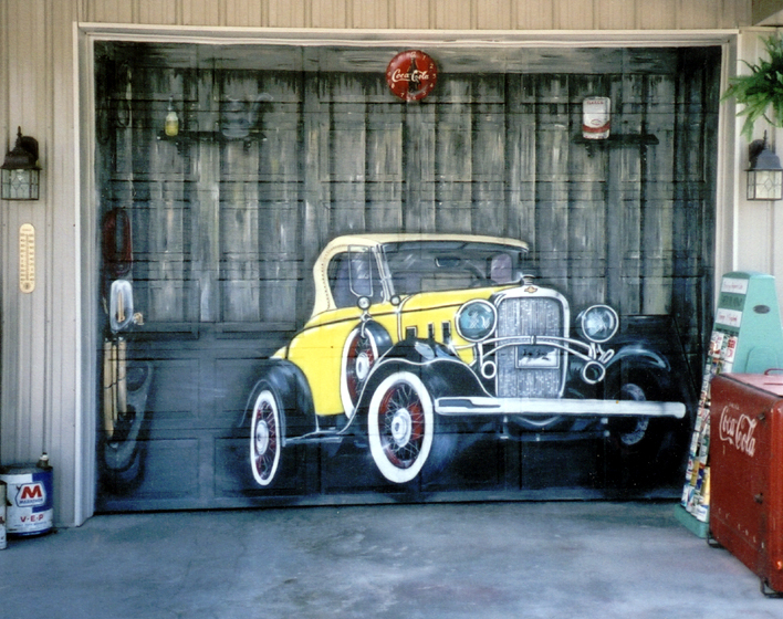 Bobby burton 39 s new garage door painting for Car picture ideas
